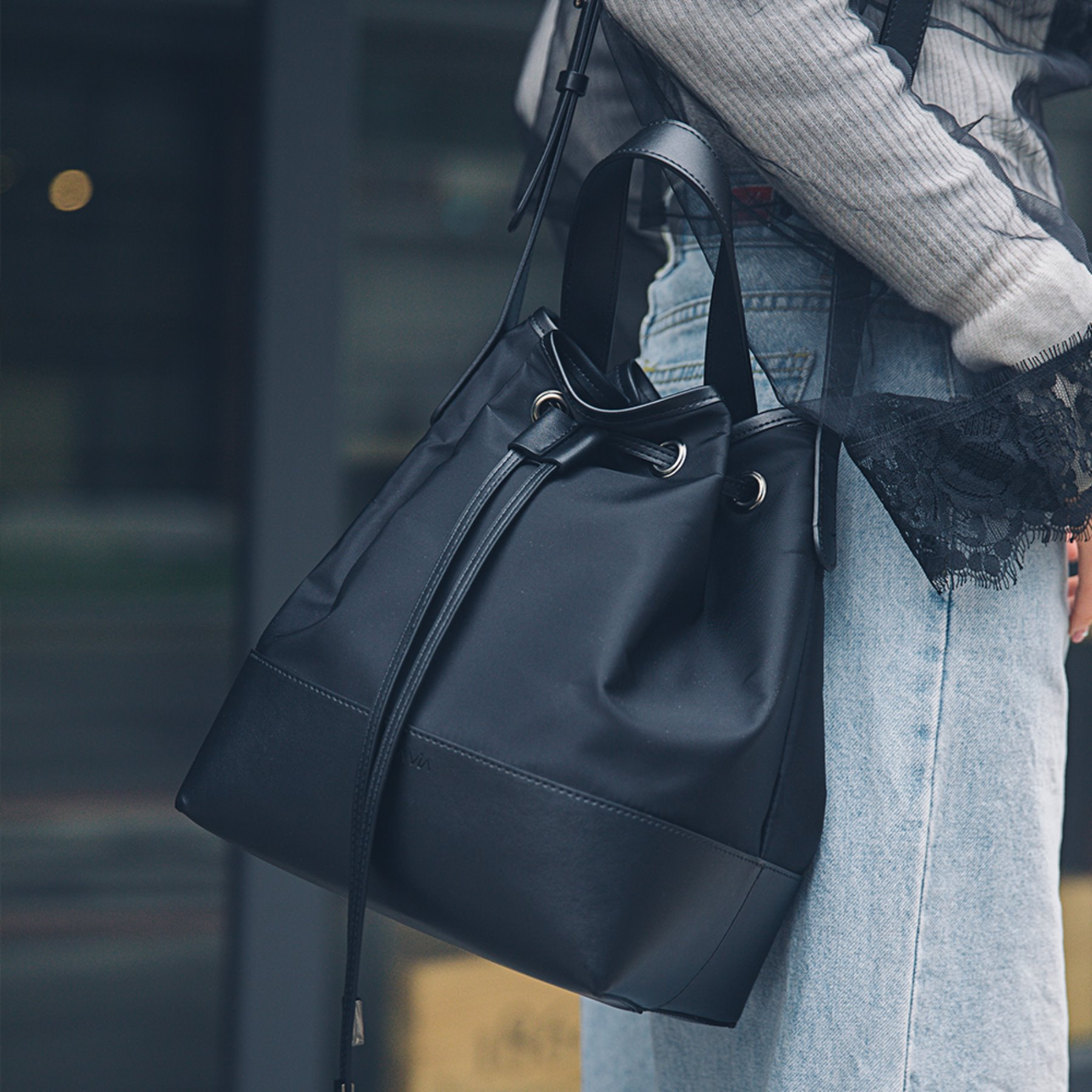[라비아] Bucket Bag Black